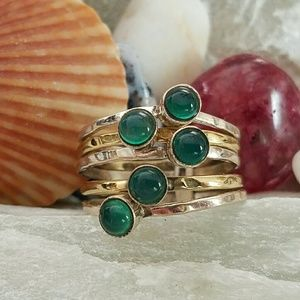 Earth Art hand crafted artisan Jewelry - Green Onyx 5 Band Ring Sterling Silver